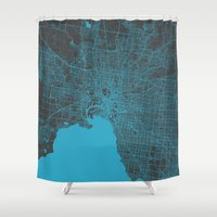 melbourne Shower Curtains featuring Melbourne map by Map Map Maps