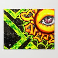 psychadelic Canvas Prints featuring Psychadelic sun by Annabomb