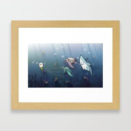 Looking for new friends Framed Art Print