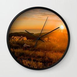 jacks bay new zealand at sunset farmland bay orange sunset rocks Wall Clock