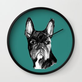 French Bulldog. Teal  Wall Clock