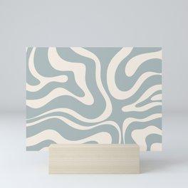 Modern Liquid Swirl Abstract Pattern in Light Blue-Grey and Cream  Mini Art Print