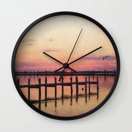 Sunset In Downtown Chincoteague II Wall Clock