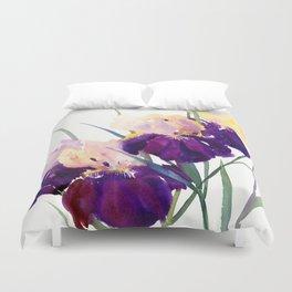 Deep Purple Flowers, Irises Duvet Cover
