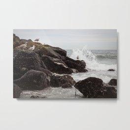 Seagulls and Breaking Waves on Rockaway Beach Metal Print