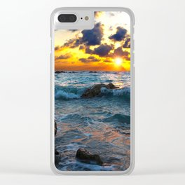 Surf Sunset Clear iPhone Case