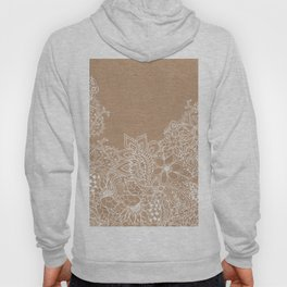 Modern white hand drawn floral illustration on rustic beige faux kraft color block Hoody
