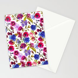 Scattered Bright Pink, Purple and Lavender Floral Arrangement with Feathers on Soft White Stationery Cards