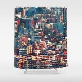 Continuous City Structures Shower Curtain