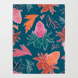 Tropical Ginger Plants in Coral + Teal Poster