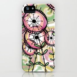 Pink, yellow and green digital whimsical flower forest design iPhone Case