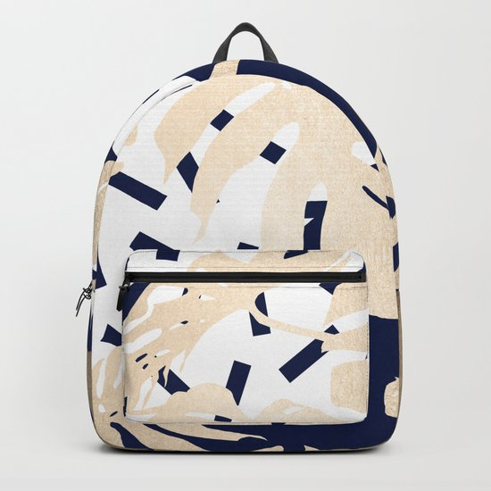 Simply Tropical Nautical Navy Memphis Palm Leaves Backpack