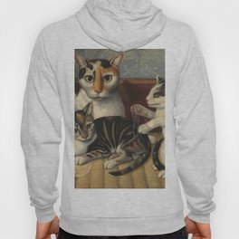 American 19th Century Cat and Kittens Oil Painting 1872 Hoody