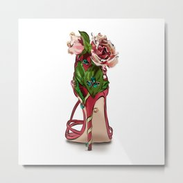 Hand-Drawn Shoe Illustration Metal Print