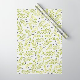 Watercolor Olive Branches Pattern Wrapping Paper