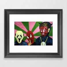 Spiderman, the Devil and Friend Framed Art Print