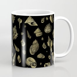 Sea shells pattern gold on black 2 Coffee Mug