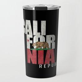 Cali Bear Flag in grungy textures Travel Mug