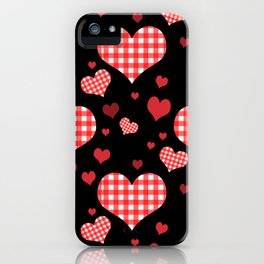 Red Gingham Hearts iPhone Case