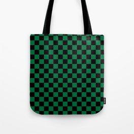 Black and Cadmium Green Checkerboard Tote Bag