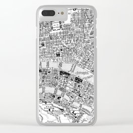 Vintage Map of Lyon France (1888) BW Clear iPhone Case