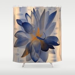 Midnight Blue Polka Dot Floral Abstract Shower Curtain