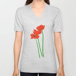 Lovely Poppies Unisex V-Neck