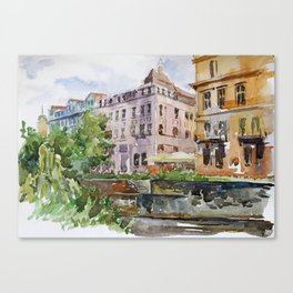 Watercolor of Old City of Karlovy Vary: streets, roofs, embankment Canvas Print