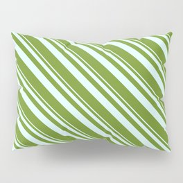Light Cyan and Green Colored Lined/Striped Pattern Pillow Sham