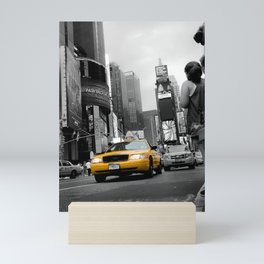 Shining Taxi Cab - Black and White Abstract Street Photograph Mini Art Print