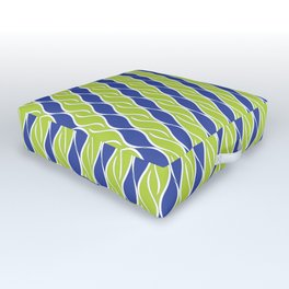 Bright Green and Blue Stripes Outdoor Floor Cushion