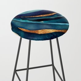 Abstract Blue with Gold Bar Stool