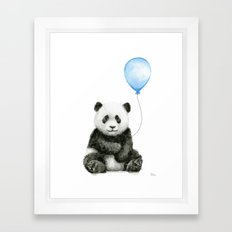 Panda Baby Animal with Blue Balloon Framed Art Print