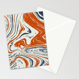 blue and orange marble abstract texture Pattern Stationery Cards