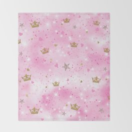 Pink Princess Throw Blanket