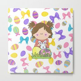 Easter Eggs Girl Metal Print
