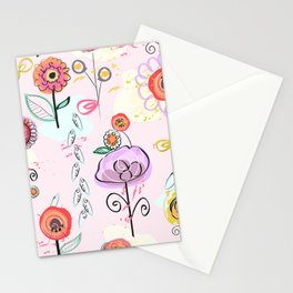 Hand Drawing Abstract Flowers. Pastel Colored Colorful Spring Pattern Stationery Cards