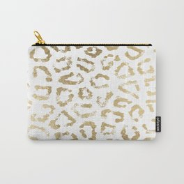 Modern white chic faux gold foil leopard print Carry-All Pouch