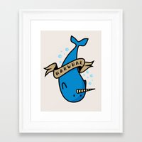 narwhal Framed Art Prints featuring Narwhal by Katie Bell
