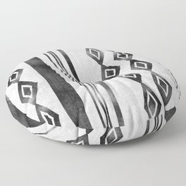 Mudcloth 1: black and light gray Floor Pillow