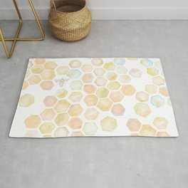Bee and honeycomb watercolor Rug
