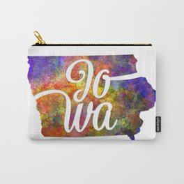 Iowa US State in watercolor text cut out Carry-All Pouch