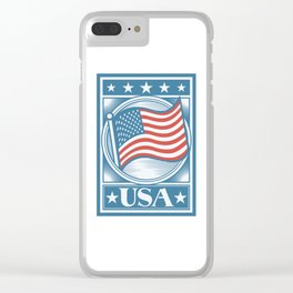 USA Flag Poster Clear iPhone Case