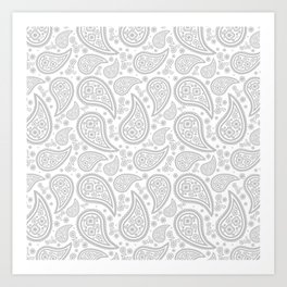Paisley (Gray & White Pattern) Art Print