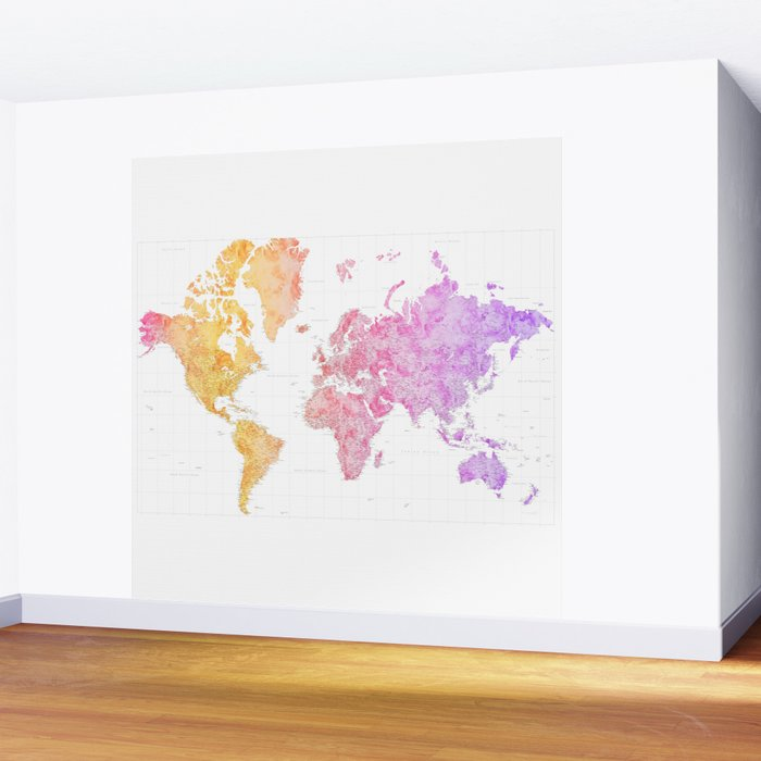 Colorful gradient highly detailed world map with cities, square, Missy Wall Mural