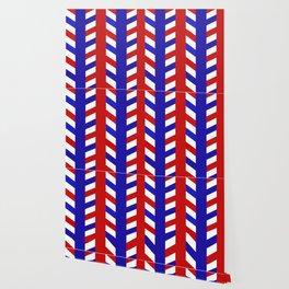 Striped Red Blue Pattern Wallpaper