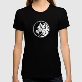 White and Black Growling Wolf Disc T-shirt