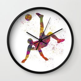 Soccer player isolated 09 in watercolor Wall Clock