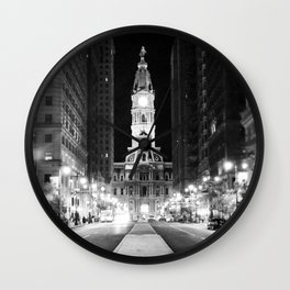 Philly by Night Wall Clock