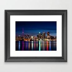 Toronto Skyline At Night From Polson St No 2 Framed Art Print
